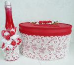 Сватбен комплект в червено от шампанско и кутия K34