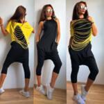 Двуцветен гащеризон с блузка, Vanya Fashion