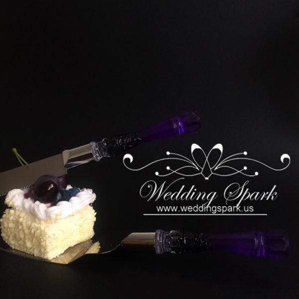 Gatsby Cake serving set Purple black wedding theme