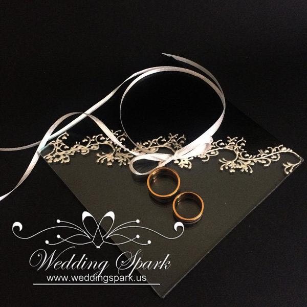 Gatsby white black wedding ring pillow