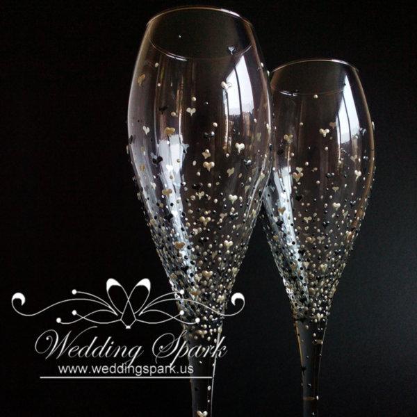 Inspiring love white silver wedding flutes