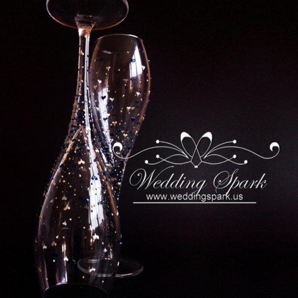 Inspiring love white blue wedding flutes