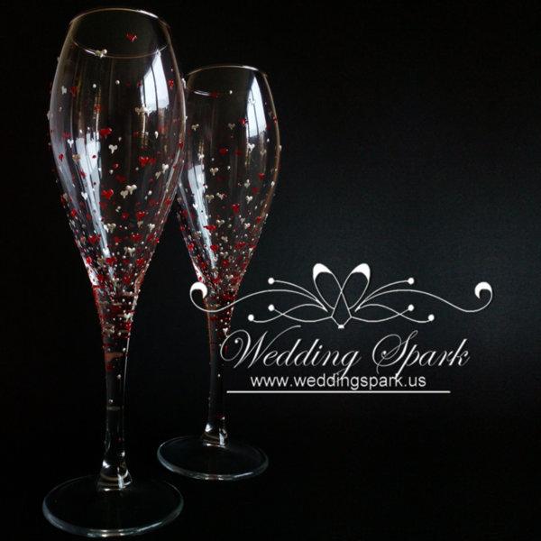 Inspiring love white red wedding flutes