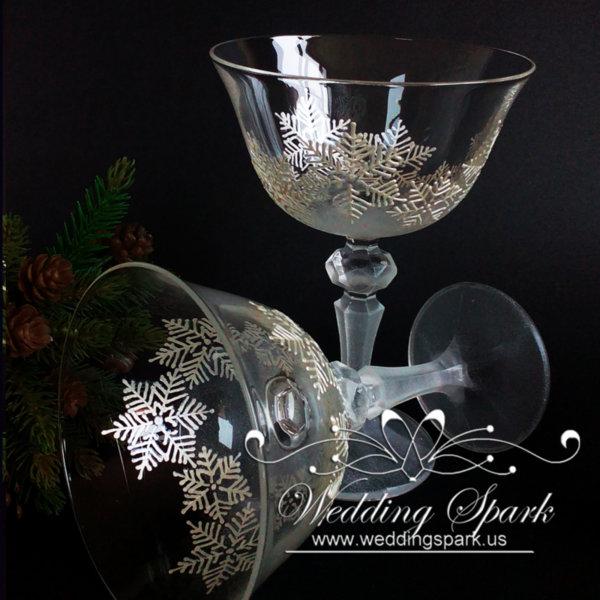 White snowflakes Champagne Saucers winter wedding theme