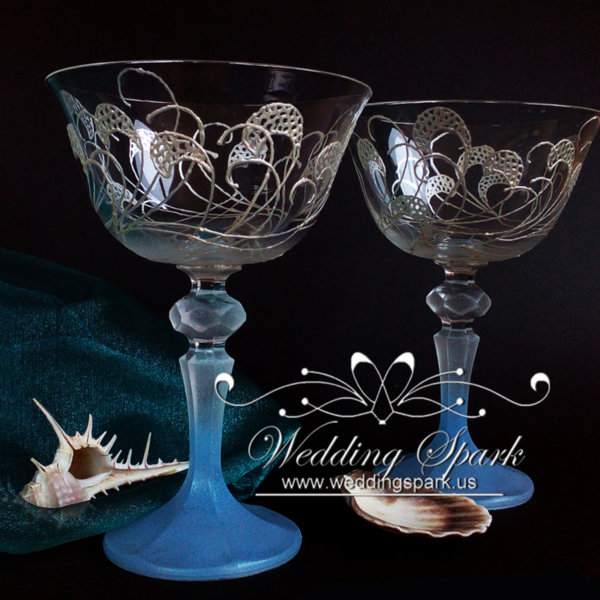 Sea waves Champagne Saucers in white and blue beach wedding-Copy
