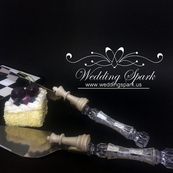King queen chess Cake serving set