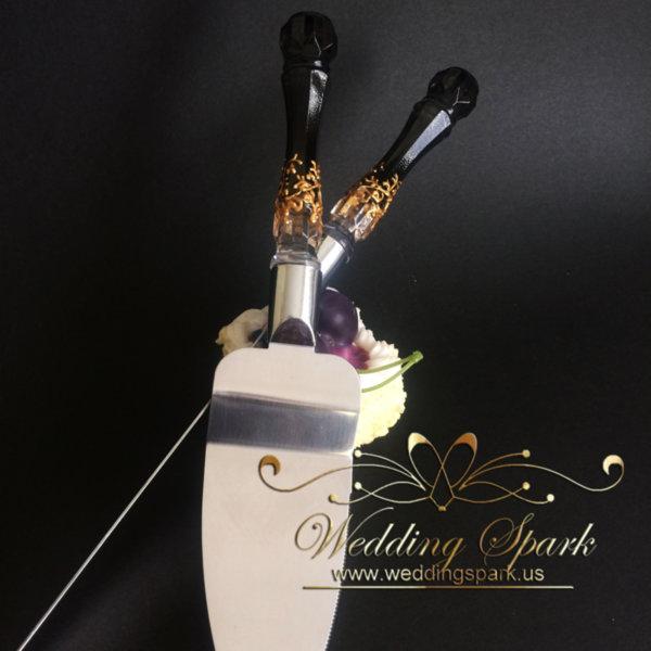 Gatsby Cake serving set gold black wedding theme