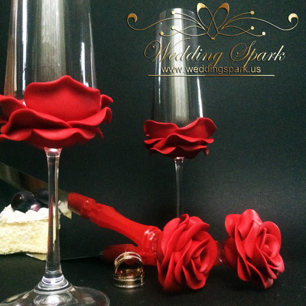 10%off Red rose wedding flutes cake serving set