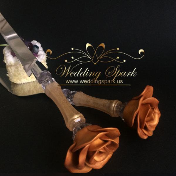 Gold rose Cake serving set