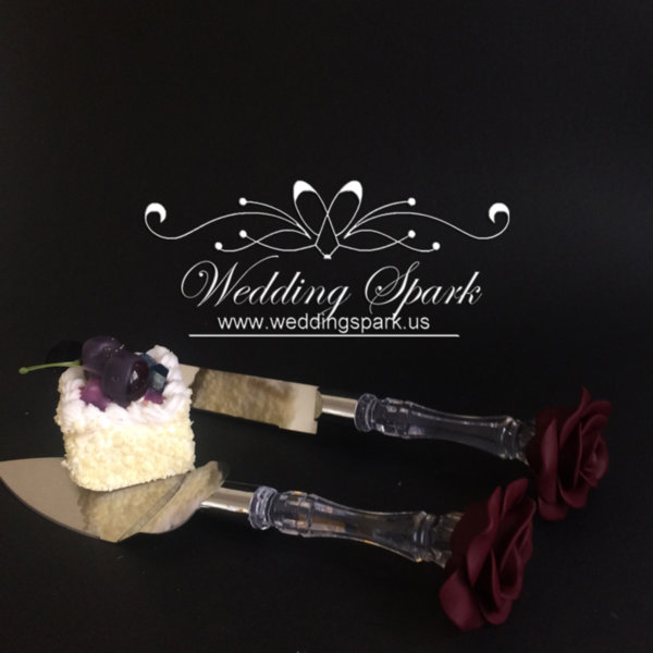 Burgundy Red rose Cake serving set