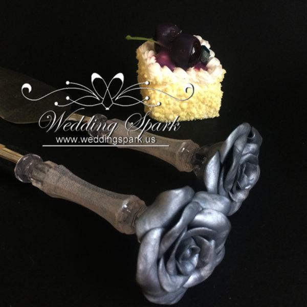 Silver rose Cake serving set