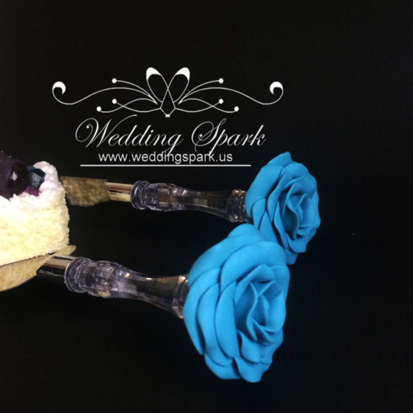 Turquoise rose Cake serving set