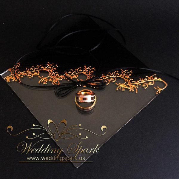 Gatsby gold black wedding ring pillow