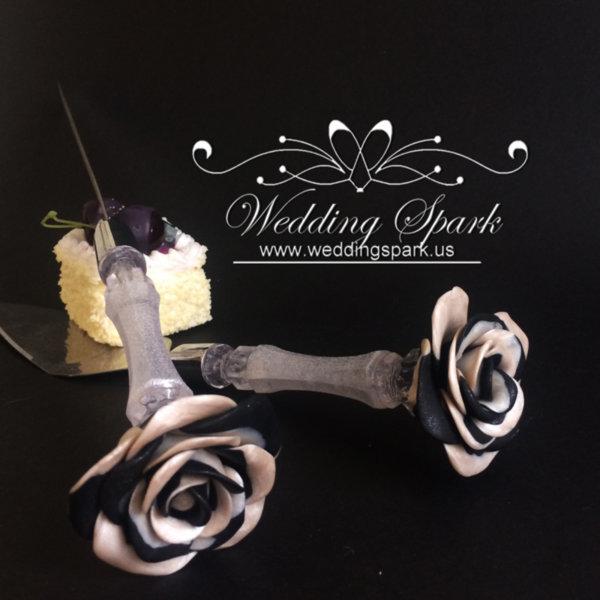 Black white rose Cake serving set