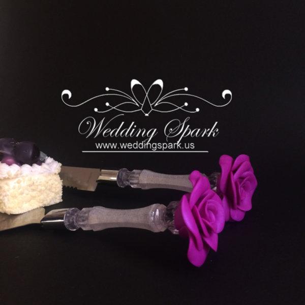 Purple rose Cake serving set