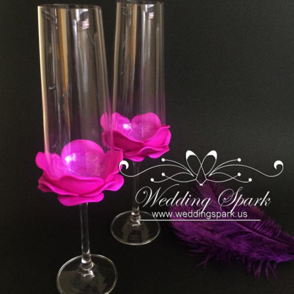Purple rose wedding flutes