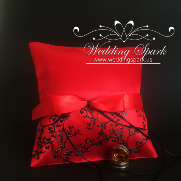 Gatsby red satin ring pillow