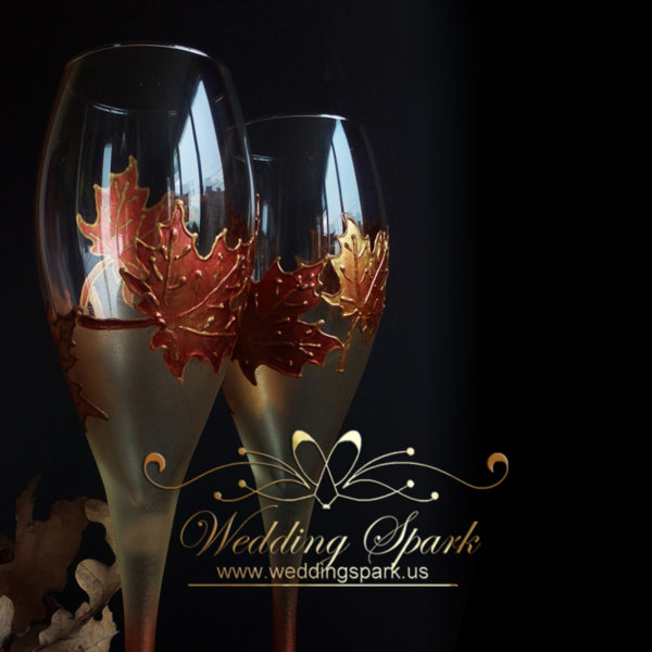Maple leaves champagne flutes gold wedding theme