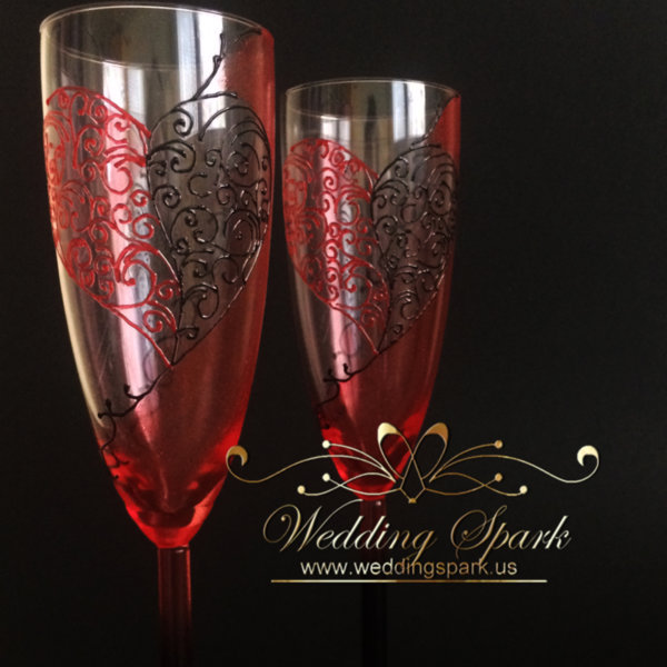 Lace heart red black wedding flutes