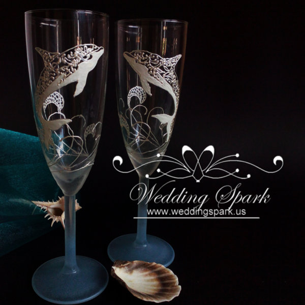 Dolphin Wedding flutes in white and blue beach wedding theme