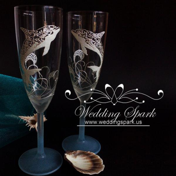 Dolphin Wedding flutes in white and blue beach wedding theme