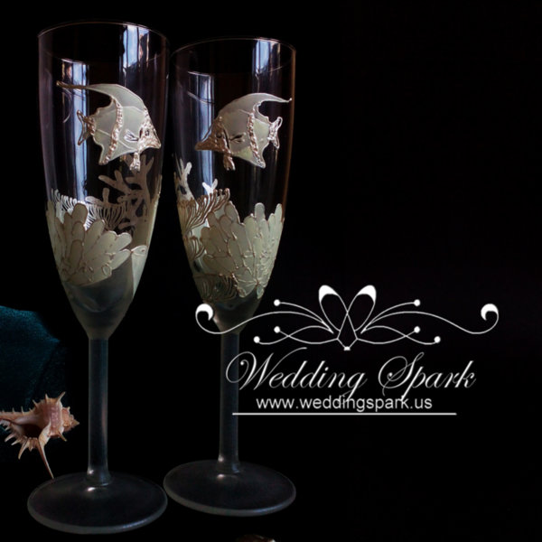 Coral reef Wedding flutes in white beach wedding theme