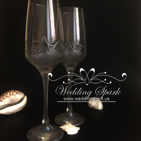 Sea shells flutes silver beach wedding
