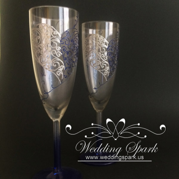Lace heart silver blue wedding flutes
