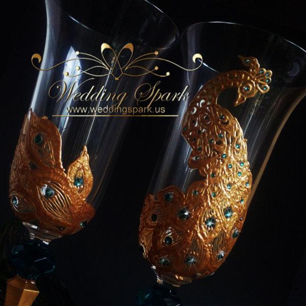 Gold peacock wedding flutes Swarovski crystals