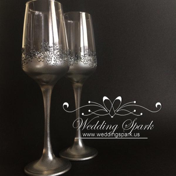 Gatsby wedding flutes silver wedding theme