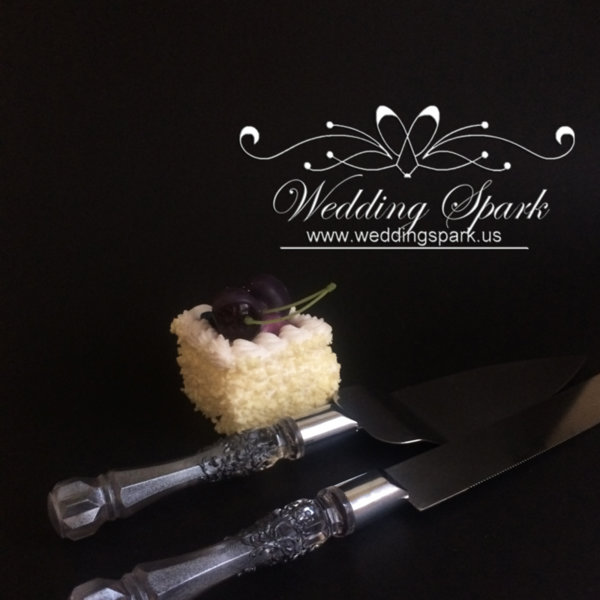 Silver Gatsby Cake serving set