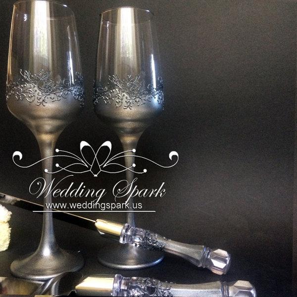 10%off Gatsby wedding set flutes cake serving set silver wedding theme-Copy