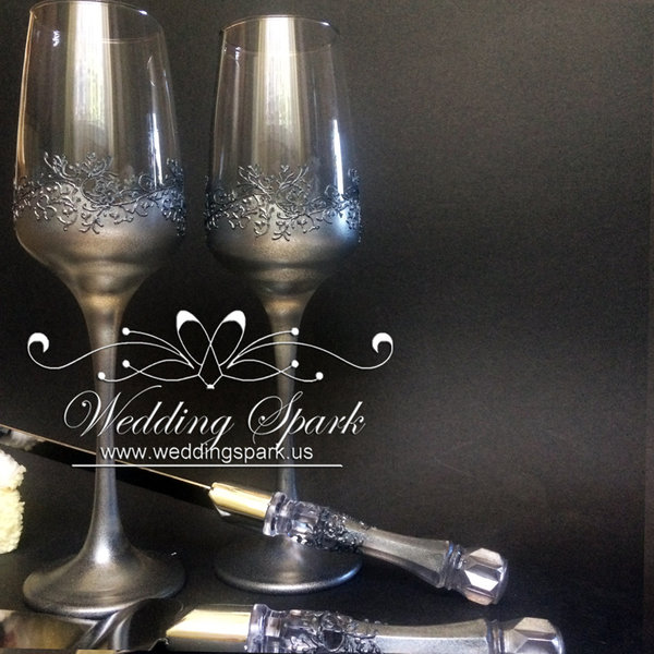 10%off Gatsby wedding set flutes cake serving set silver wedding theme-Copy