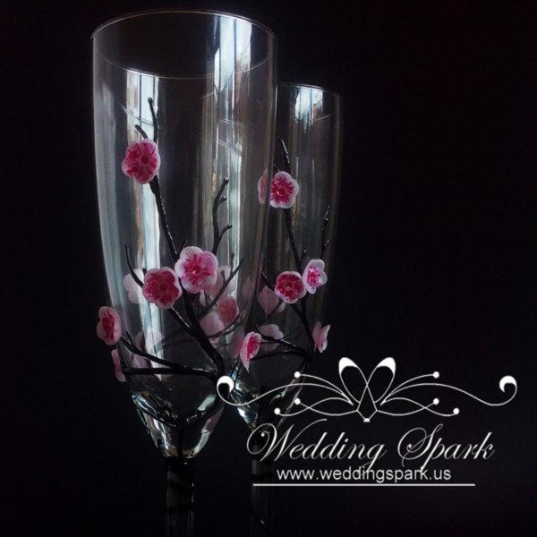 Cherry blossom Champagne glasses