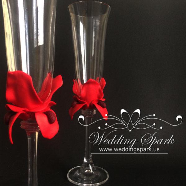 Red iris flower wedding flutes-Copy