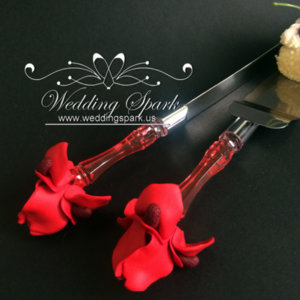 Red iris flower Cake serving set