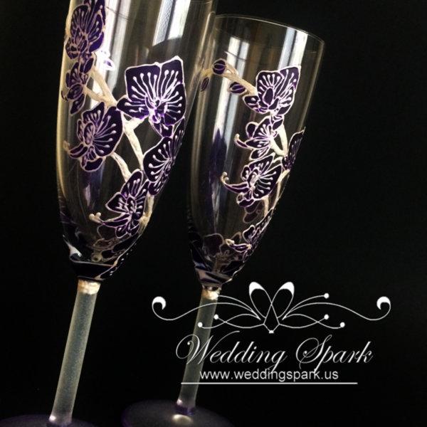Purple orchid wedding flutes
