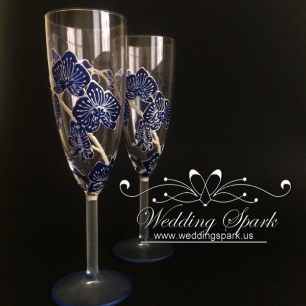 Blue orchid wedding flutes