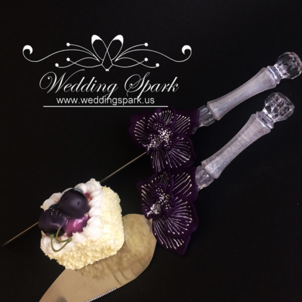 Purple orchid cake serving set