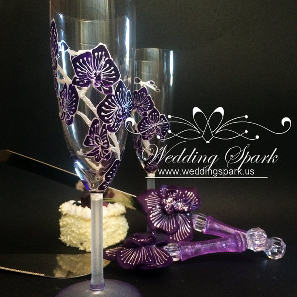 10%off Purple orchid wedding set
