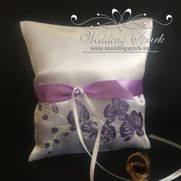 Purple orchid ring pillow