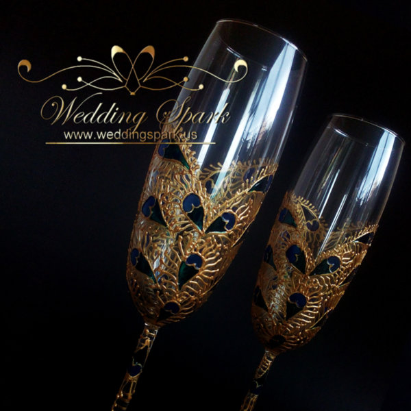 Peacock heart wedding flutes gold and blue