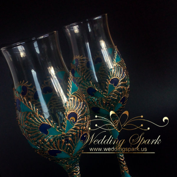 Peacock heart wedding flutes gold and turquoise