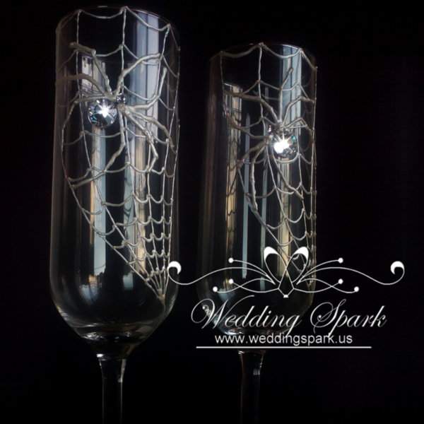 Swarovski spider wedding flutes