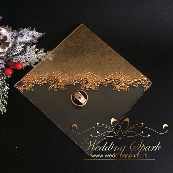 Gatsby gold wedding ring pillow