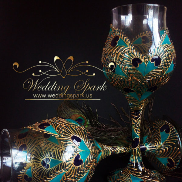 Peacock heart wine glasses gold and turquoise
