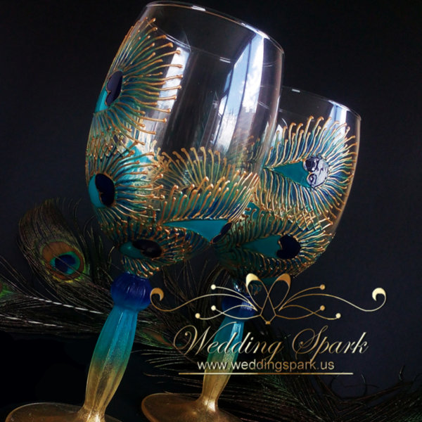 Peacock feathers wine glasses gold and turquoise
