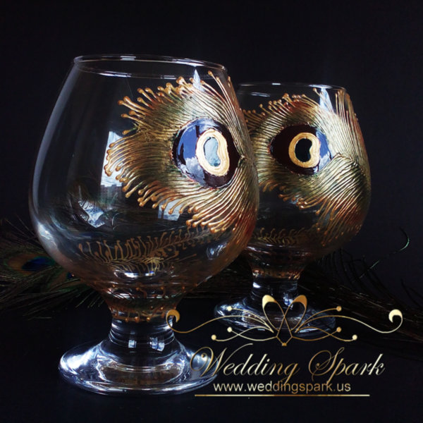 Peacock feather brandy glasses gold and brown