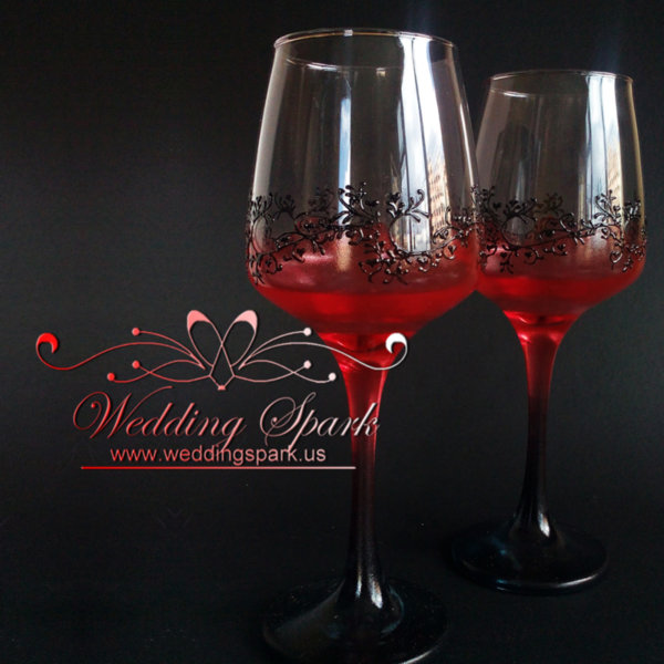 Gatsby wine glasses Red black wedding theme
