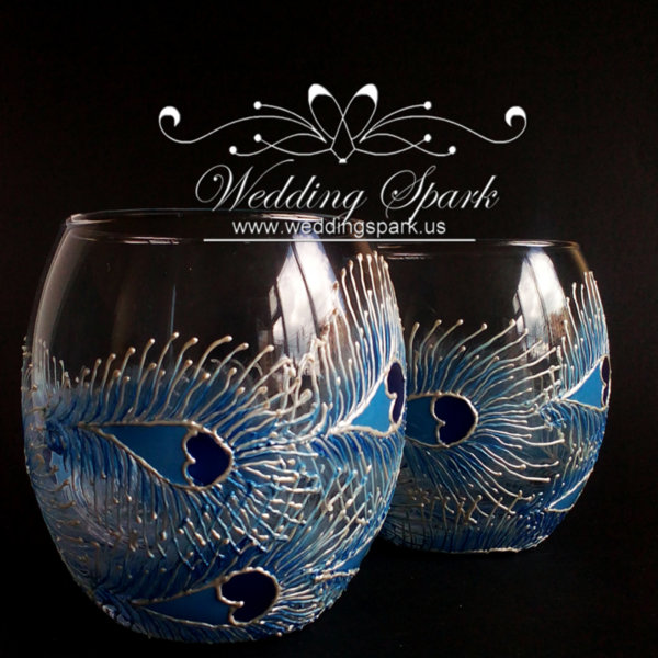 Peacock feathers white blue whiskey glasses